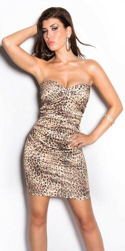 Elegantné kokteilové šaty ,,Miranda K. look,, Leopard