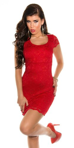 Dámske čipkované mini šaty s výstrihom na chrbte | Červená