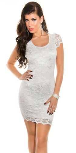 Dámske čipkované mini šaty s výstrihom na chrbte | Biela