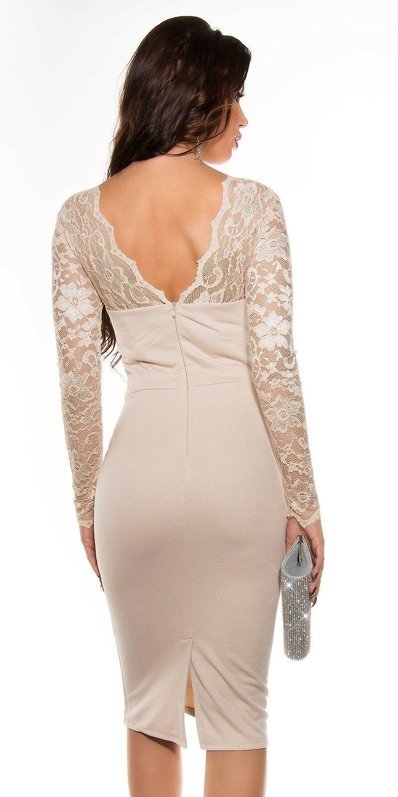 ad25fc8f68db Dámske štýlové šaty s čipkou  Veľkosť 8 (XS) Farba Béžová