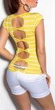 Tričko s výstrihom na chrbte prepojené mašľami Žltá