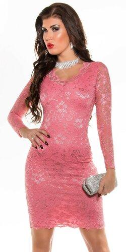 Dámske party šaty s dlhým rukávom   Koralová