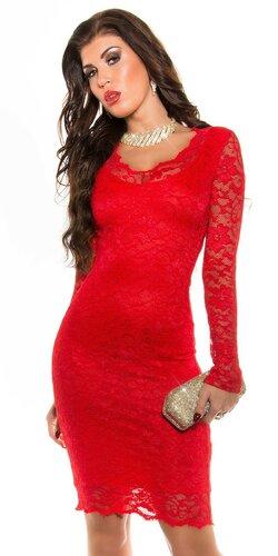 Dámske party šaty s dlhým rukávom | Červená