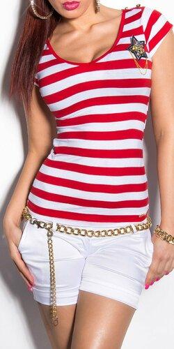 Dámske pásikové tričko s hviezdou a gombíkmi na ramenách Červená