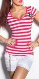 Dámske pásikové tričko s hviezdou a gombíkmi na ramenách Koralová