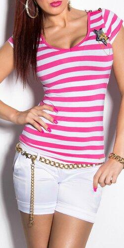 Dámske pásikové tričko s hviezdou a gombíkmi na ramenách | Ružová