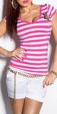 Dámske Pásikové tričko s hviezdou a gombíkmi na ramenách Ružová