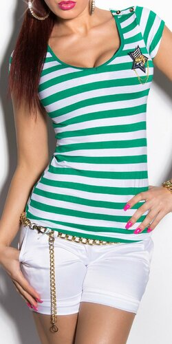 Dámske pásikové tričko s hviezdou a gombíkmi na ramenách | Zelená