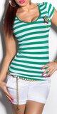 Dámske pásikové tričko s hviezdou a gombíkmi na ramenách Zelená