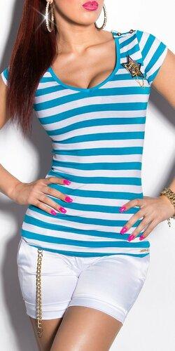 Dámske pásikové tričko s hviezdou a gombíkmi na ramenách | Tyrkysová