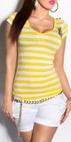 Dámske pásikové tričko s hviezdou a gombíkmi na ramenách Žltá