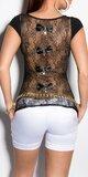 Dámske tričko s priesvitným chrbtom v 11 farbách Čierna