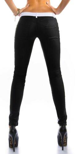 Sexi dámske nohavice koženého vzhľadu Čierna