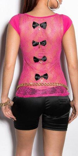 Dámske tričko s priesvitným chrbtom v 11 farbách | Ružová