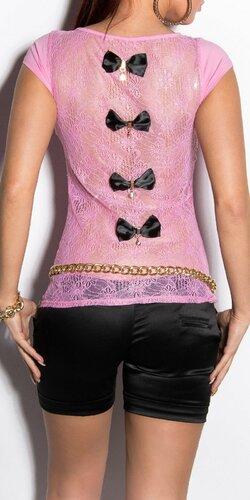 Dámske tričko s priesvitným chrbtom v 11 farbách | Bledá ružová