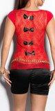 Dámske tričko s priesvitným chrbtom v 11 farbách Červená
