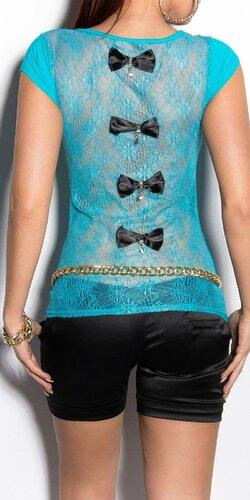 Dámske tričko s priesvitným chrbtom v 11 farbách | Tyrkysová