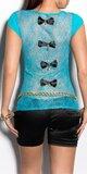 Dámske tričko s priesvitným chrbtom v 11 farbách Tyrkysová