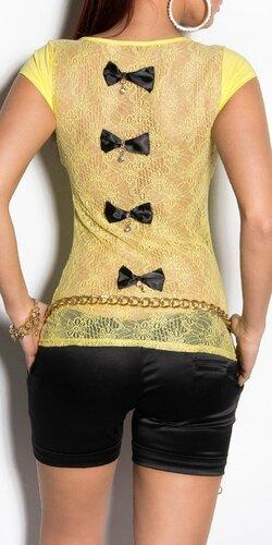 Dámske tričko s priesvitným chrbtom v 11 farbách | Žltá