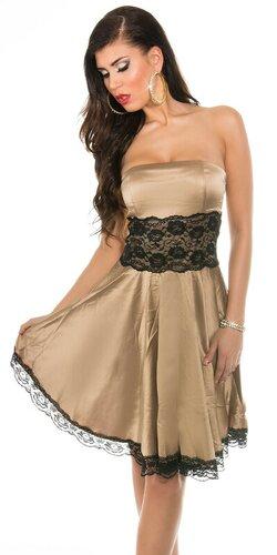 Dámske šaty s čipkou | Béžová