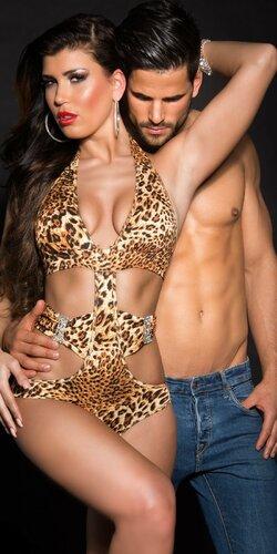 Dámske monokiny s viazaním okolo krku Leopard