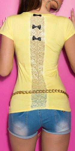 Dámske štýlové tričko s mašličkami | Žltá