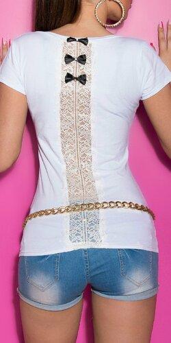 Dámske štýlové tričko s mašličkami | Biela