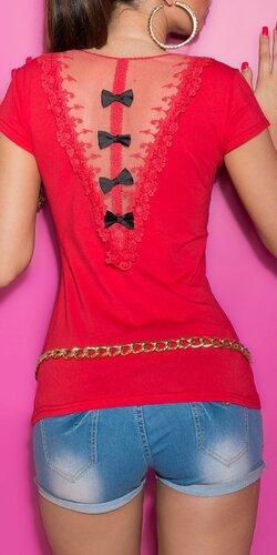 Dámske Tričko s čiernymi mašličkami | Červená