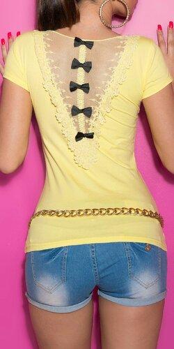 Dámske Tričko s čiernymi mašličkami | Žltá