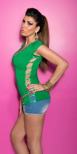 Dámske Tričko s výstrihom na boku Zelená