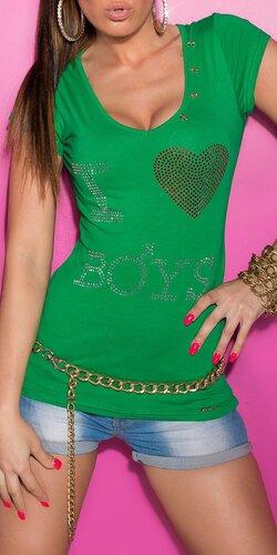 Dámske Tričko ,,I love boys,, v 11 farbách Zelená