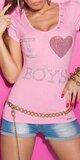 Dámske Tričko ,,I love boys,, v 11 farbách Bledá ružová