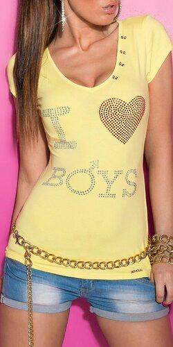 Dámske Tričko ,,I love boys,, v 11 farbách Žltá