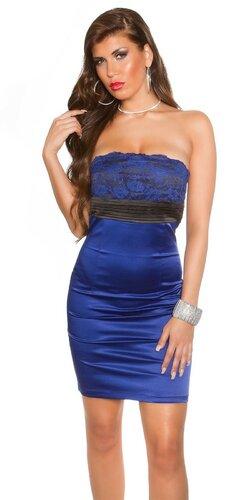Koktejlové šaty s čipkou | Modrá