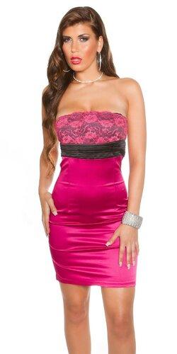 Koktejlové šaty s čipkou Ružová