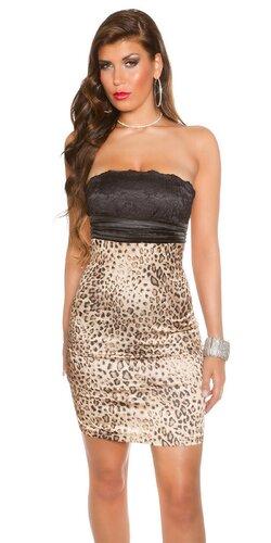 Koktejlové šaty s čipkou | Leopard