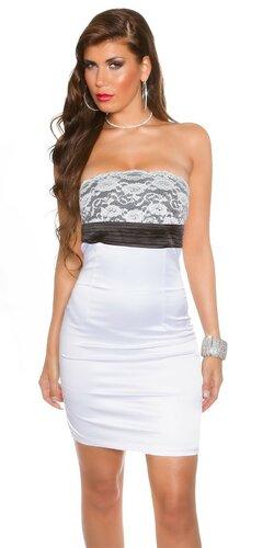 Koktejlové šaty s čipkou | Biela