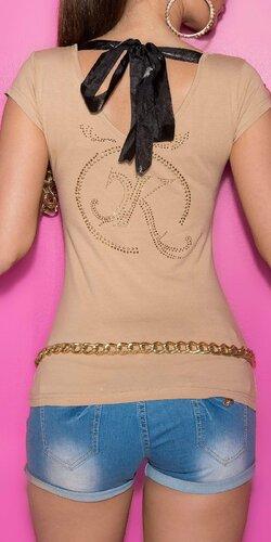 Dámske Tričko so šnúrkami na chrbte Béžová