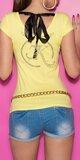 Dámske tričko so šnúrkami na chrbte Žltá