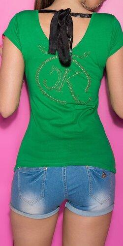 Dámske Tričko so šnúrkami na chrbte Zelená