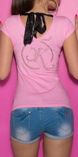 Dámske Tričko so šnúrkami na chrbte Bledá ružová
