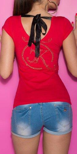 Dámske Tričko so šnúrkami na chrbte Červená
