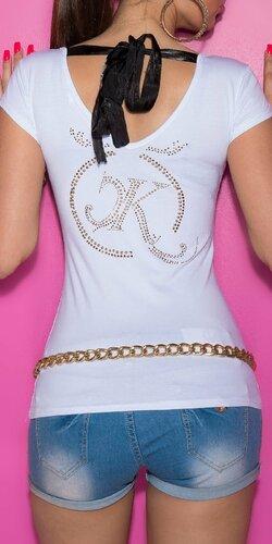 Dámske Tričko so šnúrkami na chrbte Biela