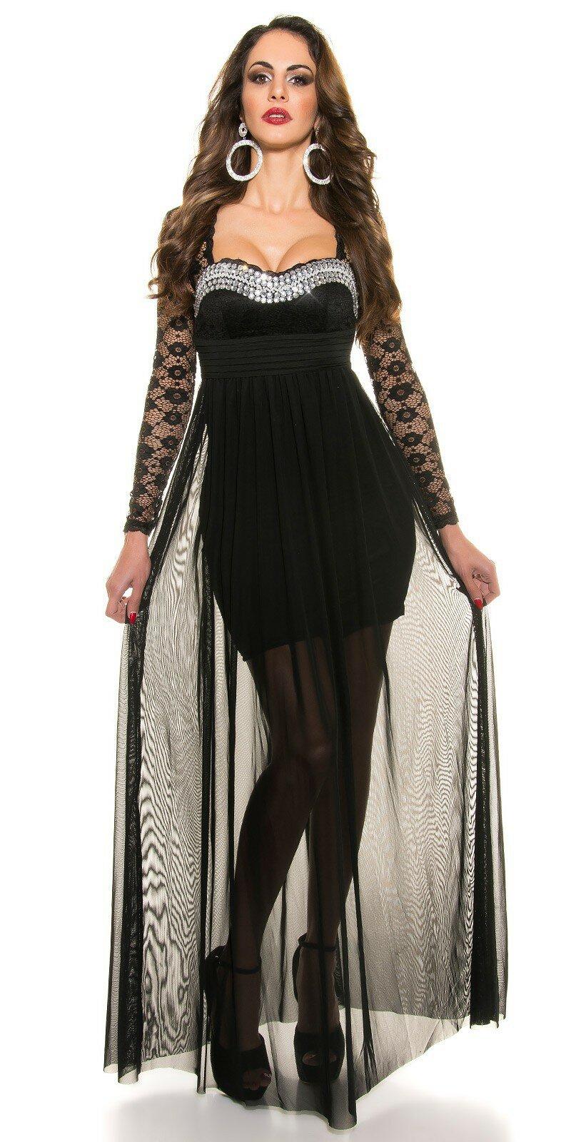 Plesové dámske šaty s čipkovanými rukávmi - NajlepsiaModa.sk aa161f7e01