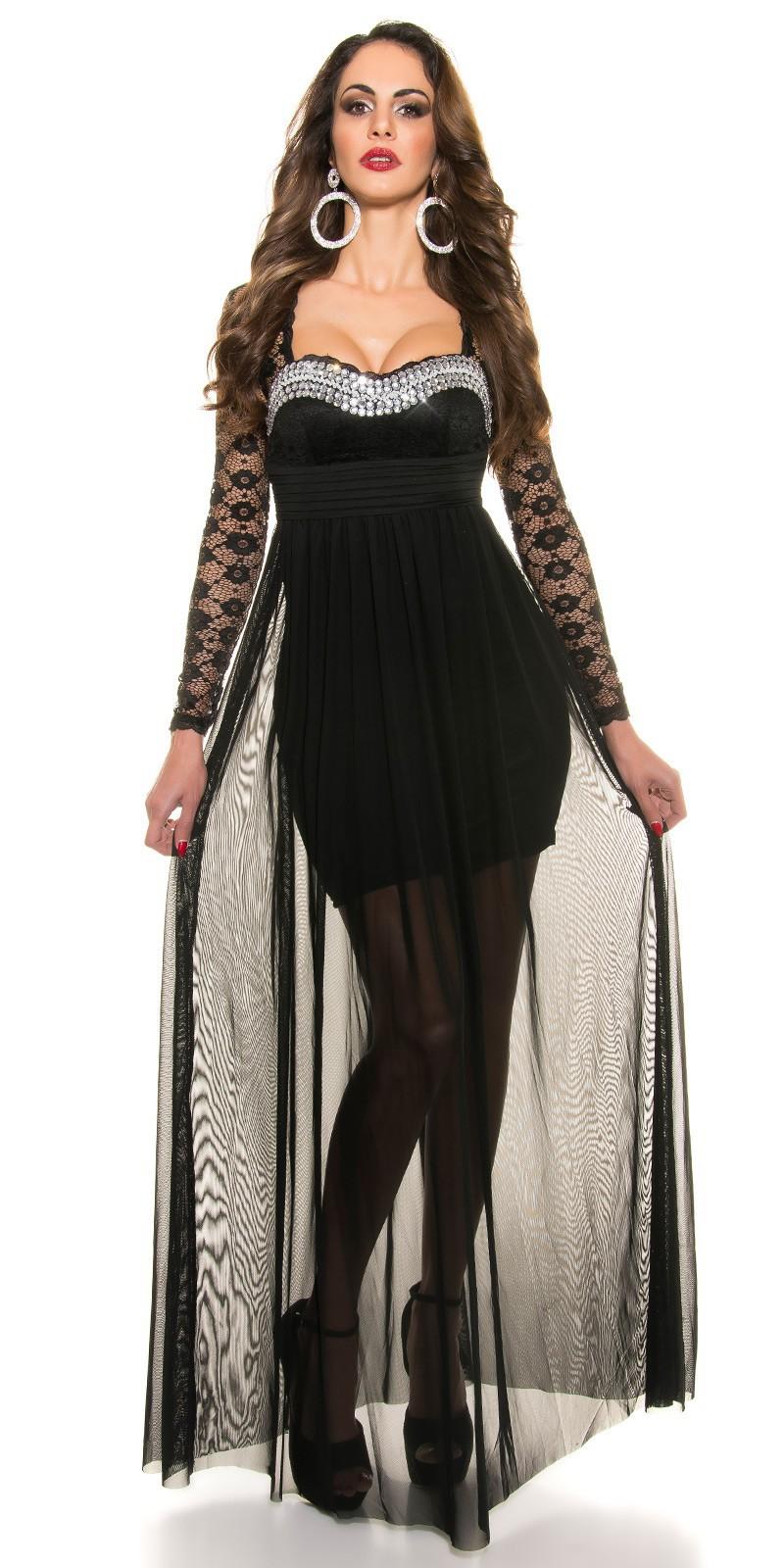 a82eefbc3e64 Plesové dámske šaty s čipkovanými rukávmi - NajlepsiaModa.sk