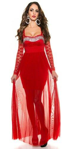 Plesové dámske šaty s čipkovanými rukávmi | Červená