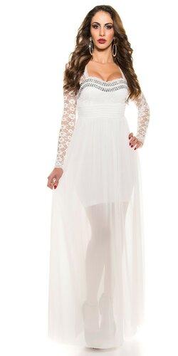 Plesové dámske šaty s čipkovanými rukávmi Biela