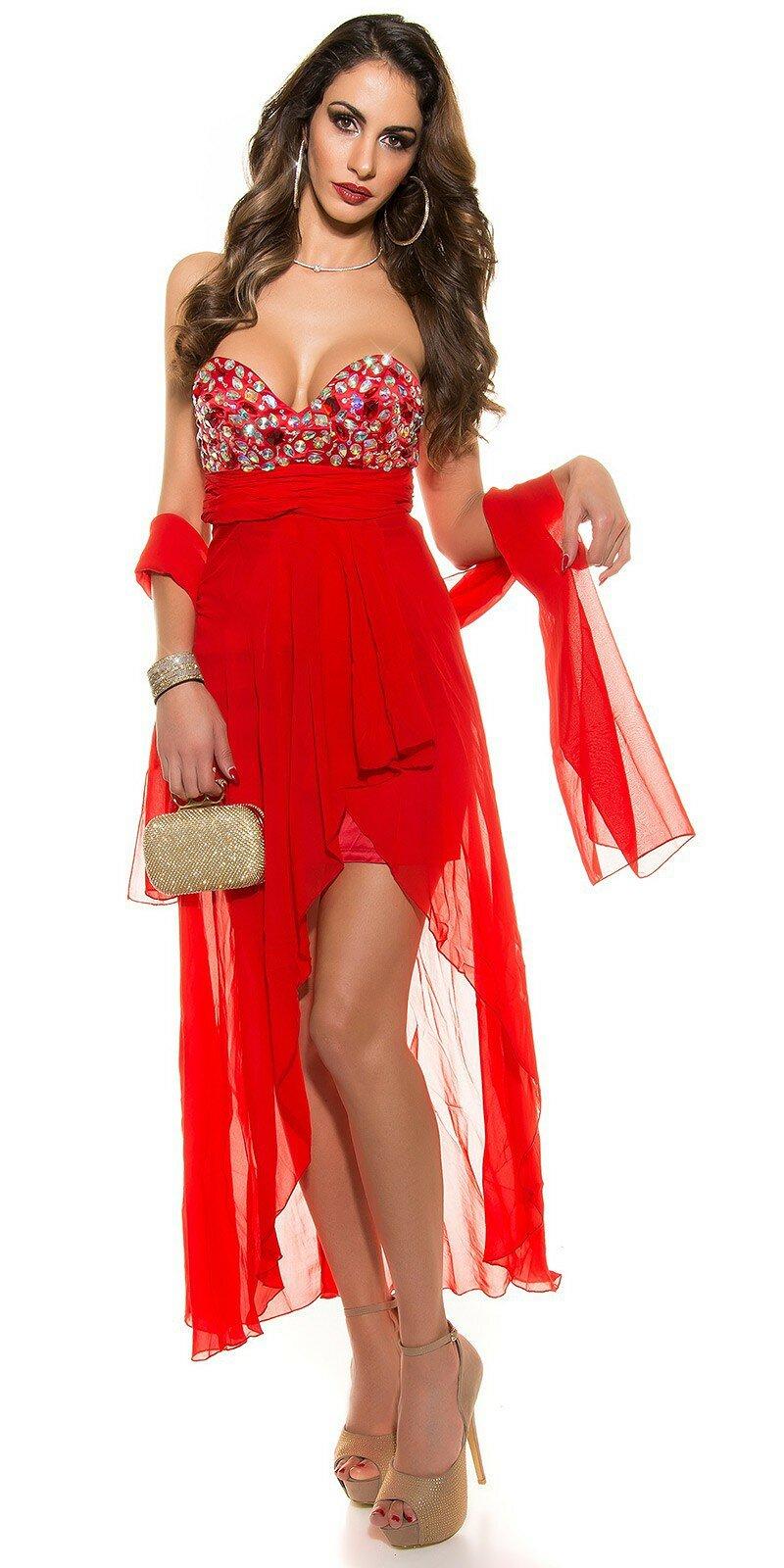 Dámske štýlové večerné šaty #Veľkosť XL Farba Červená