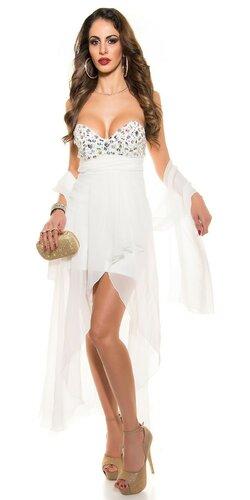 Dámske štýlové večerné šaty | Biela