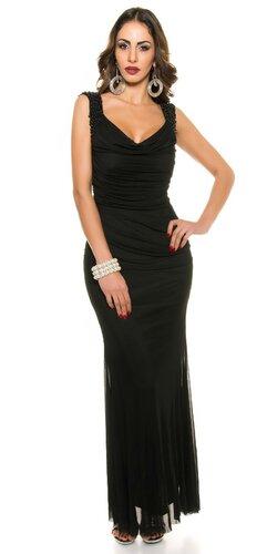 Dámske plesové šaty na ramienkach s perličkami | Čierna